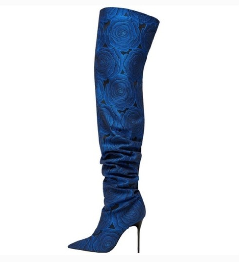 Zara Slouchy Pointed Toe Jacquard Knee High Over The Knee blue Boots