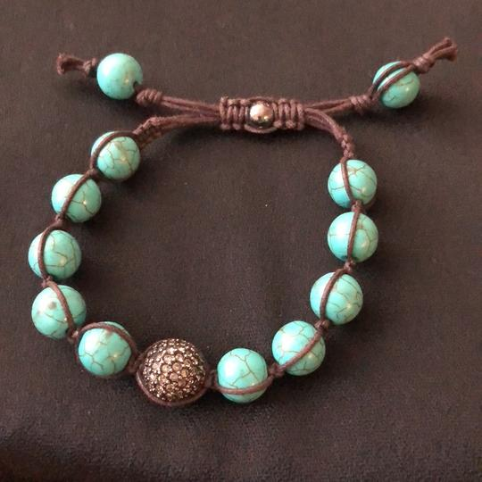O adjustable Turquoise Beaks and Leather Image 1