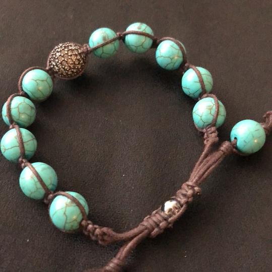 O adjustable Turquoise Beaks and Leather Image 2