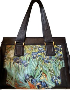 Icon Leather Irises Flowers Satchel in blue and shades of purples
