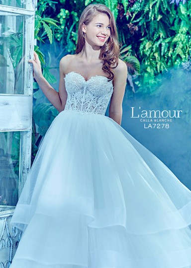 Preload https://img-static.tradesy.com/item/23366863/ivory-with-nude-illusion-lace-chiffon-l-amour-la7278-feminine-wedding-dress-size-16-xl-plus-0x-0-2-540-540.jpg
