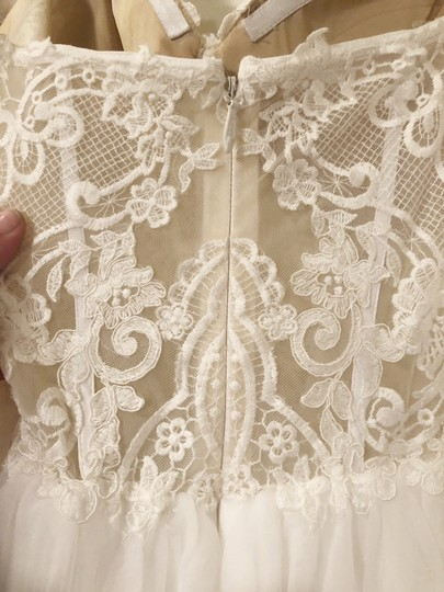 Ivory with Nude Illusion Lace Chiffon L'amour La7278 Feminine Wedding Dress Size 16 (XL, Plus 0x)
