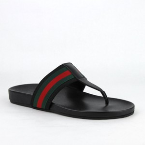 d9bf32241 Gucci Black Leather Thong Sandals with Grg Web Detail 11g Us 11.5 386768  1069 Shoes