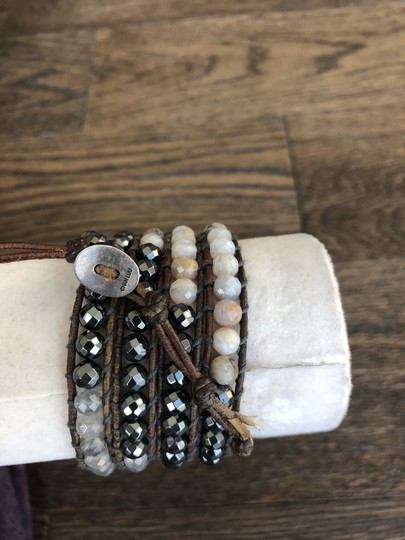 Chan Luu New Auth Chan Luu Chunky Hematite Mix Five Wrap Bracelet Natural Brown