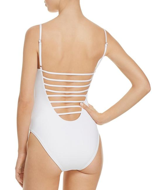 Red Carter Red Carter White Splice & Dice Cross Side Cutout One Piece Swimsuit S