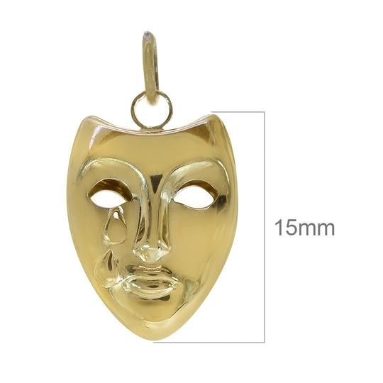 Avital & Co Jewelry 14K Yellow Gold Theater Crying Mask 3D Vintage Charm