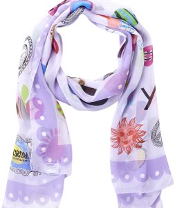 MOSCHINO CHEAP AND CHIC Lilac Printed Silk Scarf