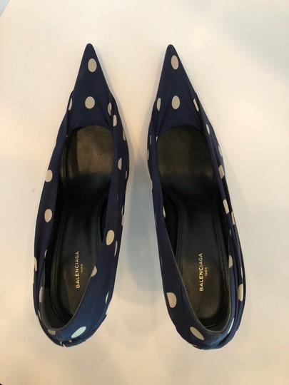 Balenciaga Knife Polka Dot Stiletto Knife Blue/White Pumps