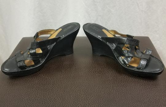 Brn Leather Black Wedges