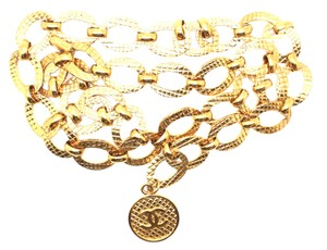Chanel CC medallion charm chain extra wide gold long two way necklace belt