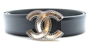 Chanel RARE CC Texture Wired edge logo silver buckle leather Belt size 105/42