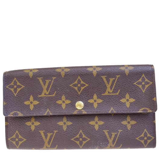 Louis Vuitton Credit Long Bifold Wallet Purse Monogram Brown M61725 coin case