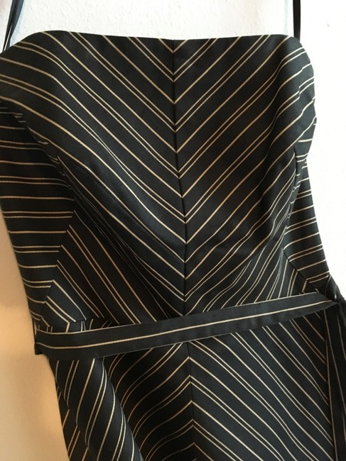 White House | Black Market A-line Midi Strapless Striped Belted Dress