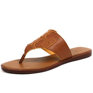 Tory Burch Logo Flip Flop Leather Flat Royal Tan Marigold Sandals