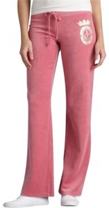 Juicy Couture Velour Embellished Crown Queen Embroidered Athletic Pants pink