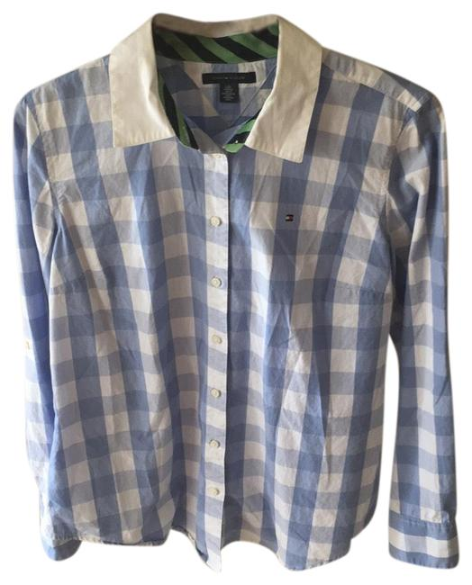 Preload https://item5.tradesy.com/images/tommy-hilfiger-white-blue-button-down-top-size-12-l-23367364-0-1.jpg?width=400&height=650