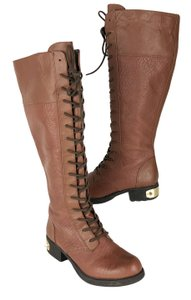 Sam Edelman Circus Gillian Grain Leather Lace Up Zip Tan Boots