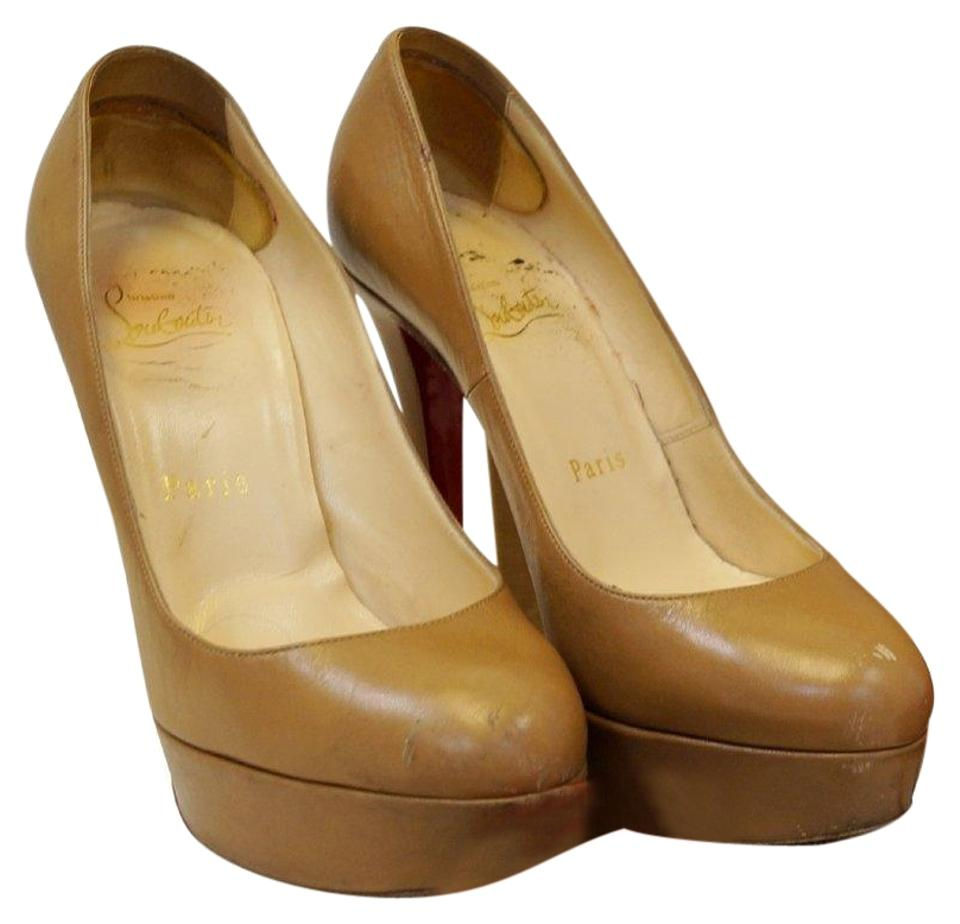 Christian Louboutin Pumps Bianca 140 Leather Camel Pumps Louboutin Platforms 58893c