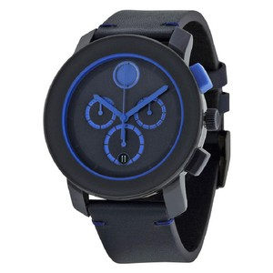 Movado Movado Bold Chronograph Navy Blue Dial Blue Leather Men's Watch
