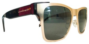 Alexander McQueen AM0011S 002 Gold & Havana Sunglasses