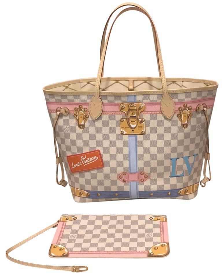 ef46611aa3ed Louis Vuitton Neverfull Mm Summer Trunks 2018 Damier Azur Canvas Tote