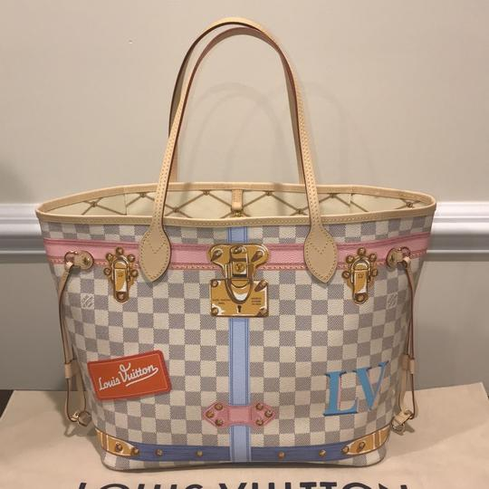 Louis Vuitton Neverfull Neverfull Mm Trunks 2018 Limited Edition Limited Trunks Tote in Damier Azur