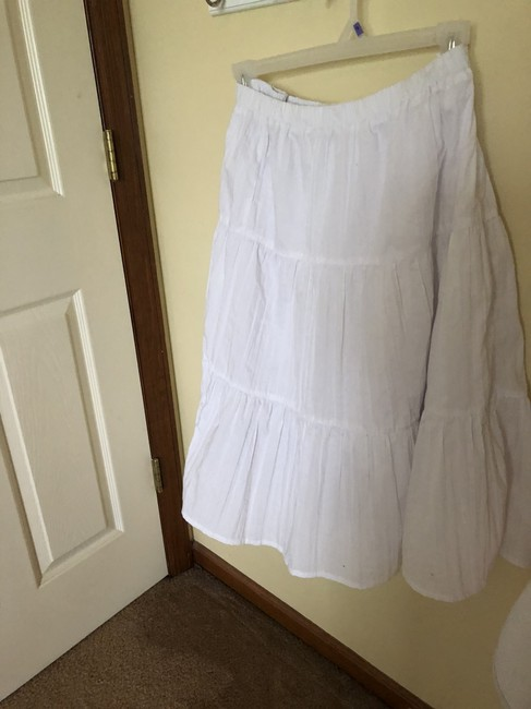 Basic Editions White Long Flowy Pretty Maxi Skirt N-W-O-T----white--BEACHY Image 2