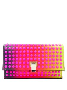 Proenza Schouler Leather Dots Hot Flap Multicolor red pink Clutch