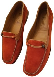 Henry Cuir Suede Loafers Orange Flats