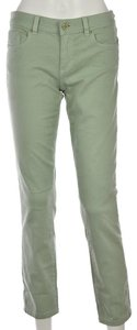 Tory Burch Cotton Denim Pants Colored Cropped Skinny Jeans-Light Wash
