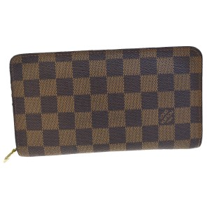 Louis Vuitton Long Zipper Bifold Wallet Purse Damier Leather Brown