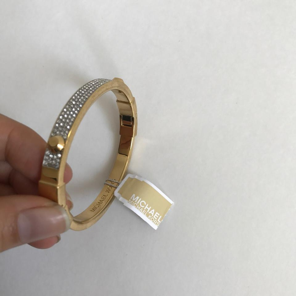 Michael Kors Nwt Gold Tone Crystal Pave Astor Stud Bangle Bracelet Mkj1975710 123456789