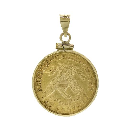 Avital & Co Jewelry 1881 5 Dollars Liberty Head Gold Coin In 14K Gold Frame