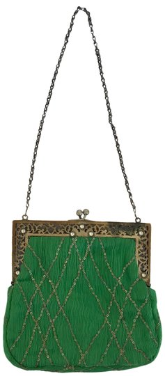 Preload https://img-static.tradesy.com/item/23367901/collette-dinnigan-rhinestone-and-sequin-evening-handbag-green-silver-silk-metal-baguette-0-1-540-540.jpg