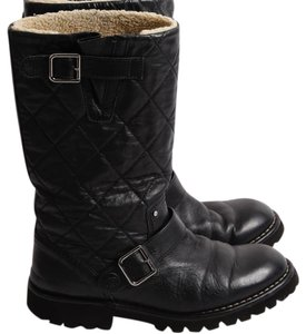 Chanel Round Toe Winter Snow Black Boots