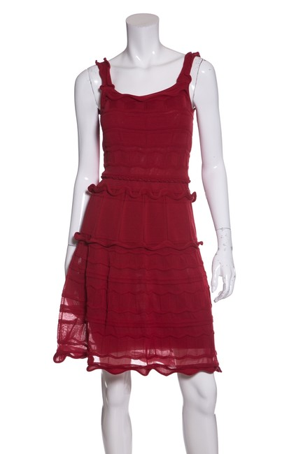 Preload https://img-static.tradesy.com/item/23368211/lanvin-red-ruffle-accent-knit-short-casual-dress-size-4-s-0-0-650-650.jpg