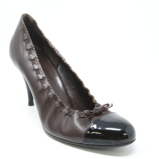 Chanel Le Boy Quilted Double Flap Caviar Ribbon Brown Pumps