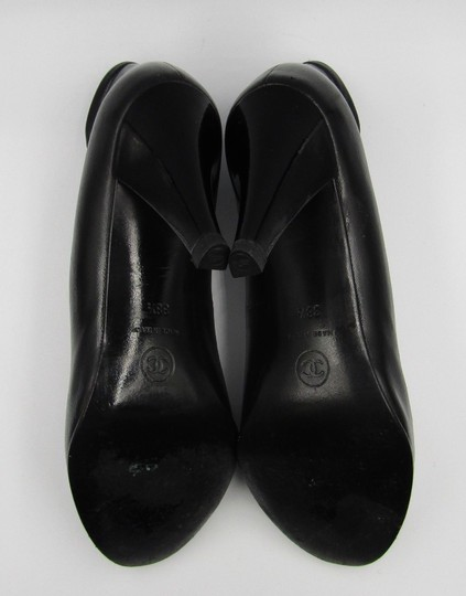 Chanel Ankle Tall Leather Heel Cap Toe black Pumps