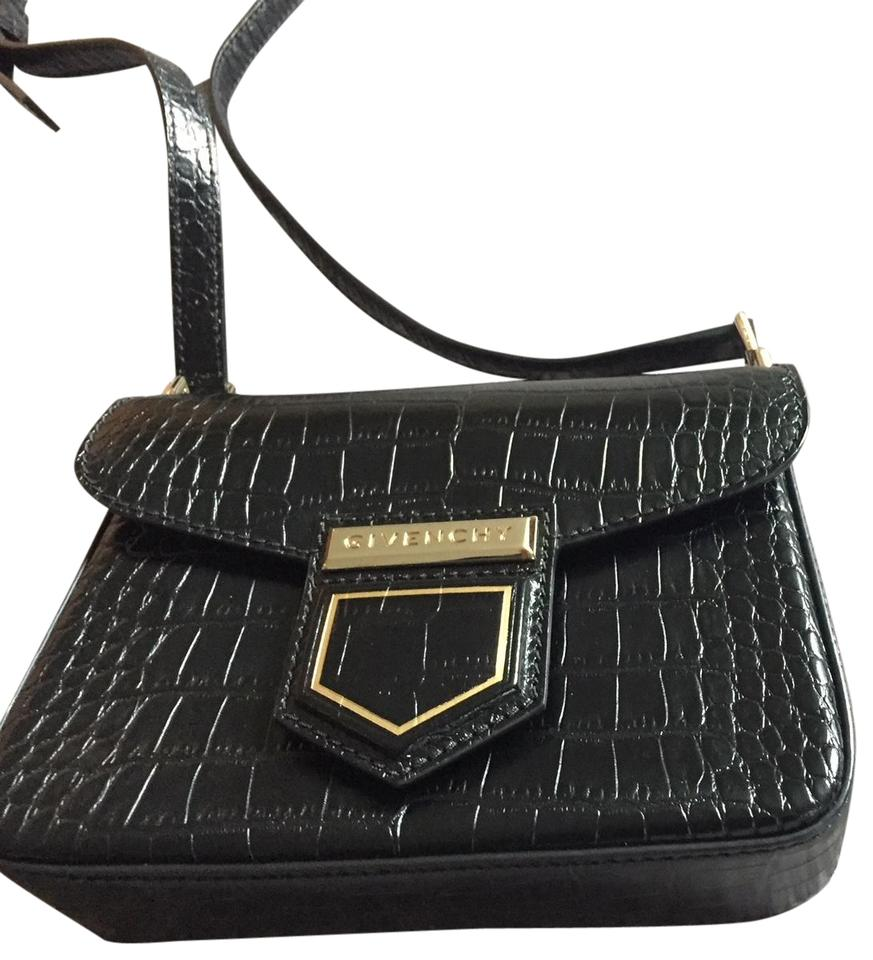 bb6eb2df1a Givenchy Nobile Mini Crocodile Emboss Black Leather Cross Body Bag ...