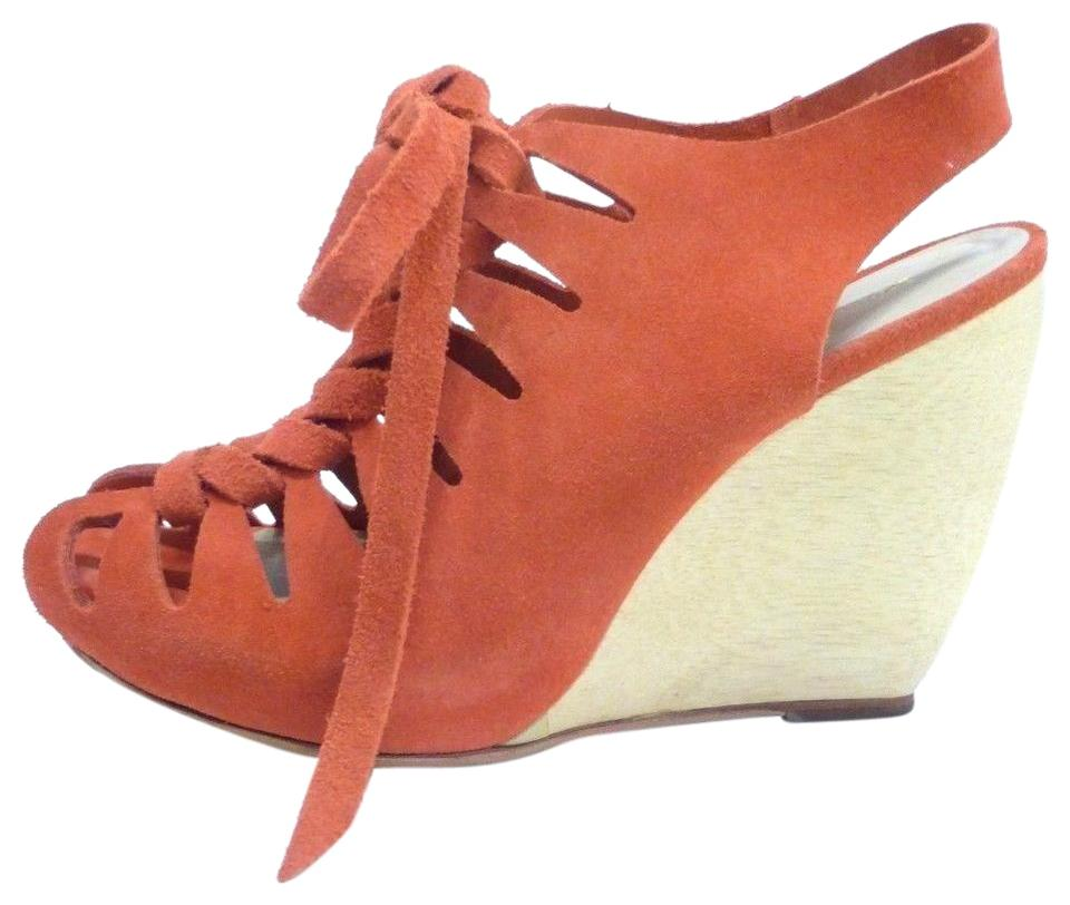 Loeffler Randall Orange Suede Wedge Sandals Booties 8 Euro Sandals Wedge a12d52