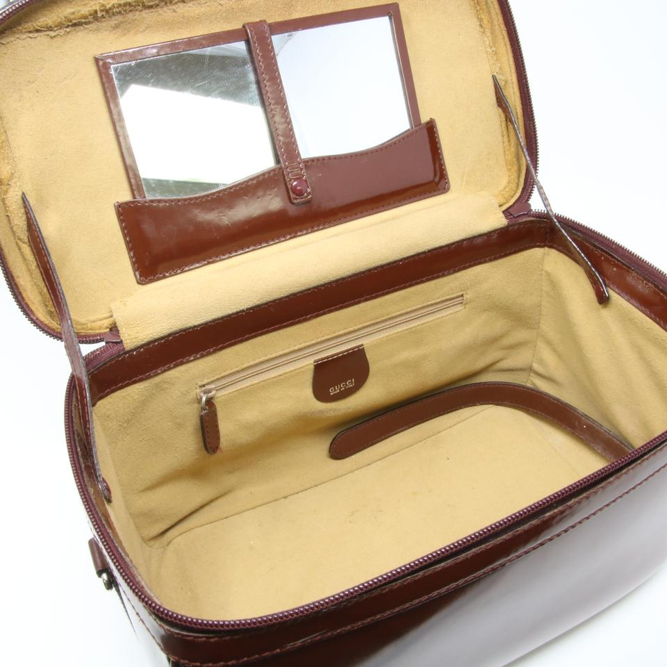 acd837d0ecab28 Gucci Vanity Case Signature Bamboo Top Handle Brown Leather Satchel ...