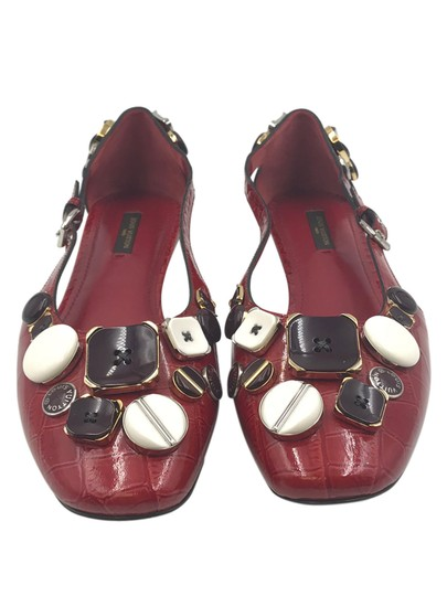 Louis Vuitton Croc Embossed Patent Leather Ballerina Dark Red Flats