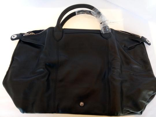 Longchamp Silver Details Leather Large Tote in Black