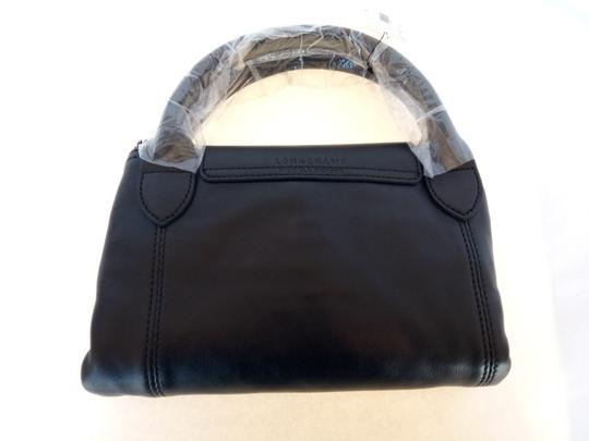 Longchamp Fold Large Leather Tote in Black