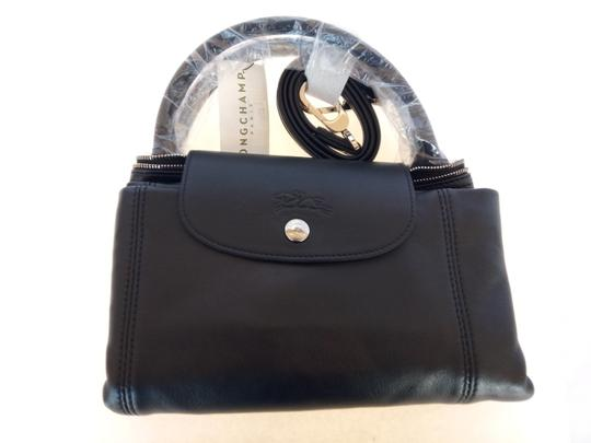 Longchamp Soft Leather Satchel Tote in Black