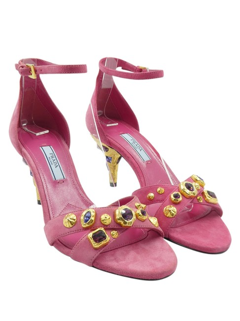 Item - Pink Jeweled Suede Brushed Gold Crisscross Toe Strap 5.5/35.5 Sandals Size EU 35.5 (Approx. US 5.5) Narrow (Aa, N)