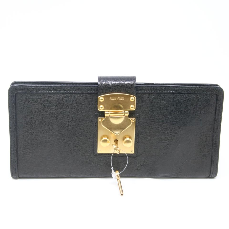 Miu Miu Signature Goatskin Leather Lock and Key Flap Travel Passport Case  ... 6838078123e8