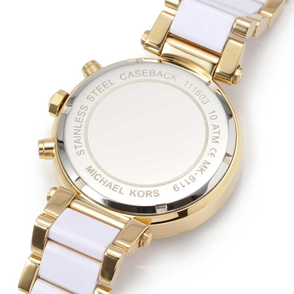 8cb0009f988c ... Michael Kors Gold and White Watch MK6119 Image 5. 123456