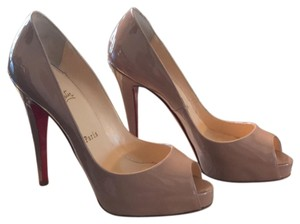 Christian Louboutin Tan and Red Platforms