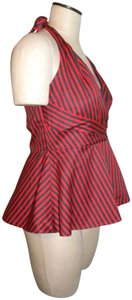 Odille Anthropologie Structured Striped Red Halter Top